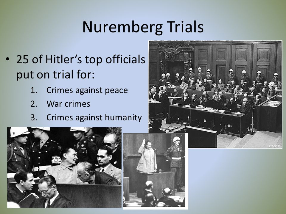 Nuremberg Trials 25 of Hitler's top officials put on trial for: 1.Crimes against peace 2.War crimes 3.Crimes against humanity