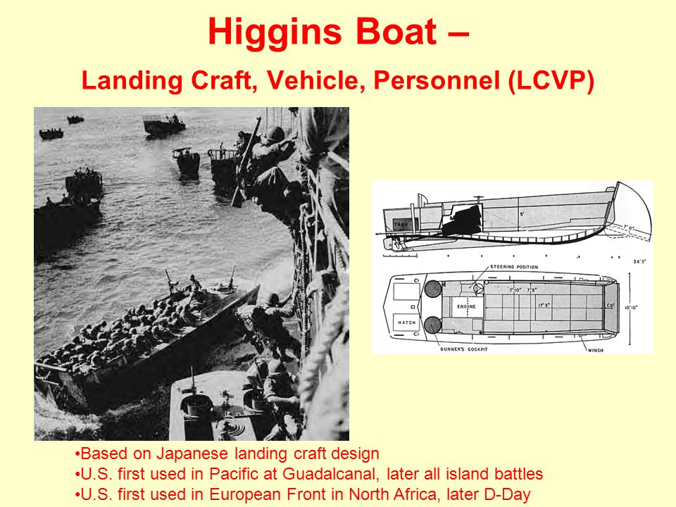 Higgins Boat – Landing Craft, Vehicle, Personnel (LCVP) Based on Japanese landing craft design U.S.