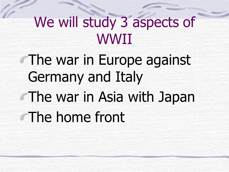 What caused WWII in Europe.