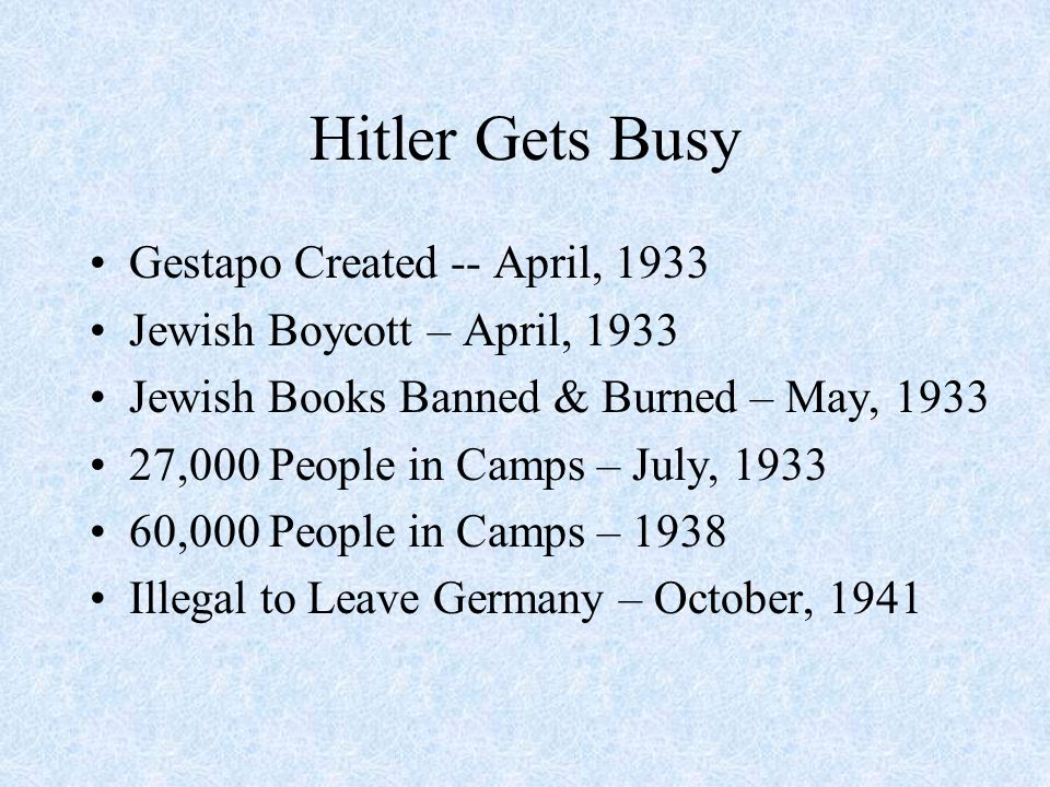 Hitler Gets Busy Gestapo Created -- April, 1933 Jewish Boycott – April, 1933 Jewish Books Banned & Burned – May, 1933 27,000 People in Camps – July, 1933 60,000 People in Camps – 1938 Illegal to Leave Germany – October, 1941