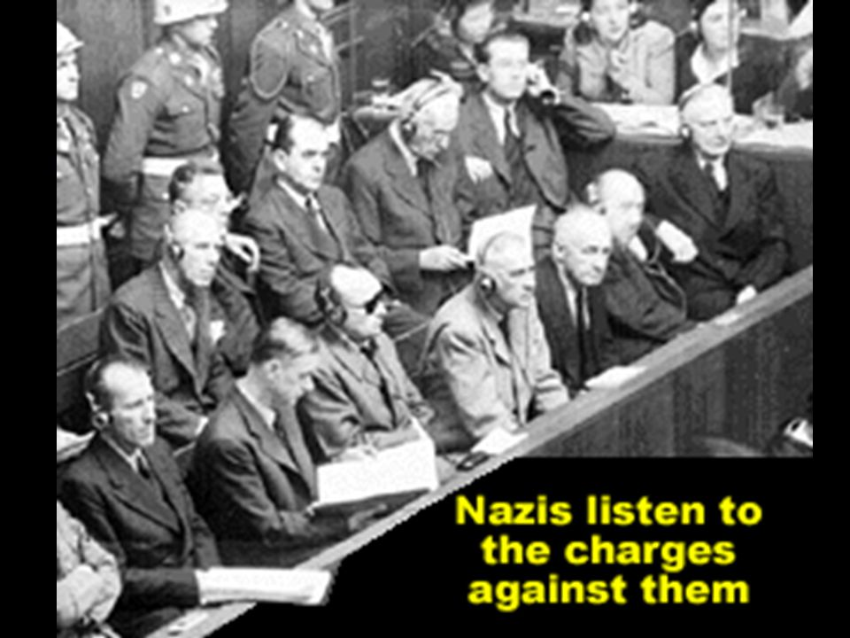 Nuremberg War Trials After the discovery of the atrocities committed by Hitler's Third Reich, 24 surviving Nazi leaders were put on trial for crimes against humanity, crimes against peace, and war crimes.