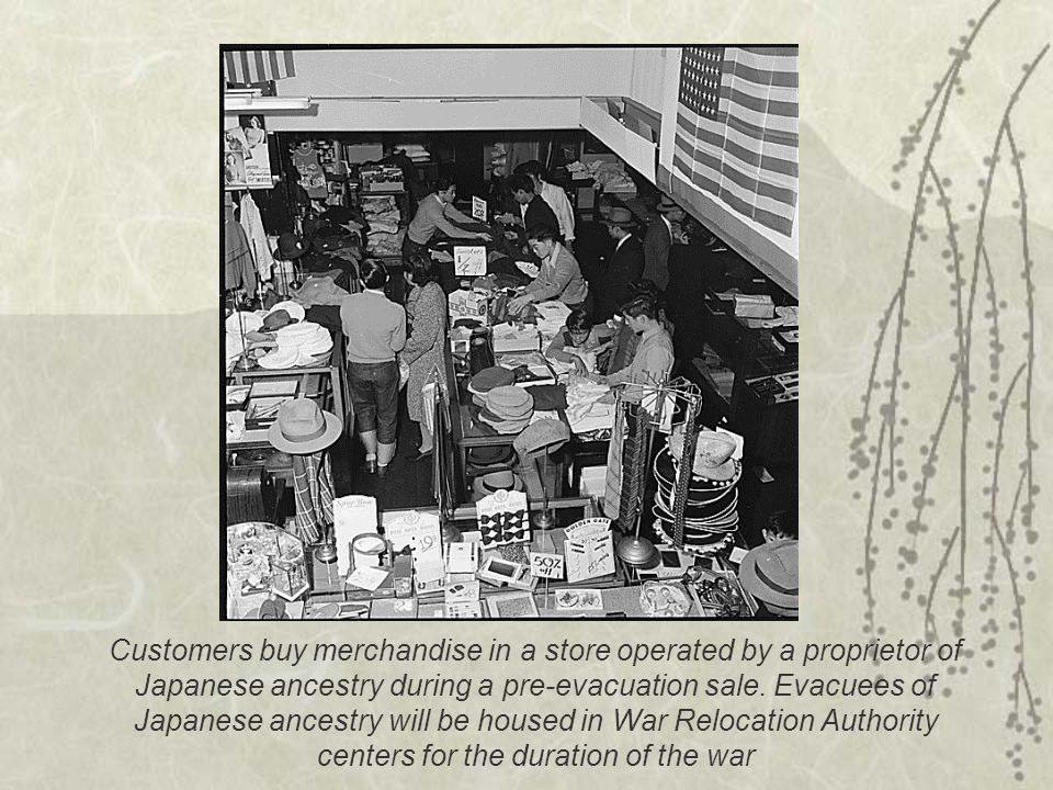 Customers buy merchandise in a store operated by a proprietor of Japanese ancestry during a pre-evacuation sale.
