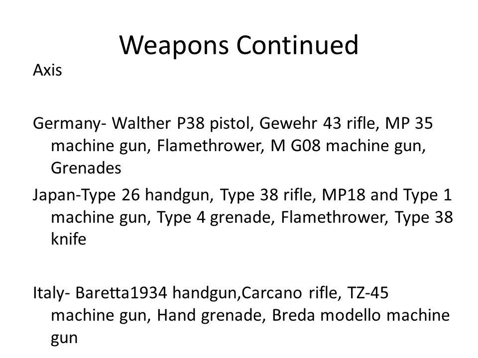 Weapons Continued Axis Germany- Walther P38 pistol, Gewehr 43 rifle, MP 35 machine gun, Flamethrower, M G08 machine gun, Grenades Japan-Type 26 handgun, Type 38 rifle, MP18 and Type 1 machine gun, Type 4 grenade, Flamethrower, Type 38 knife Italy- Baretta1934 handgun,Carcano rifle, TZ-45 machine gun, Hand grenade, Breda modello machine gun
