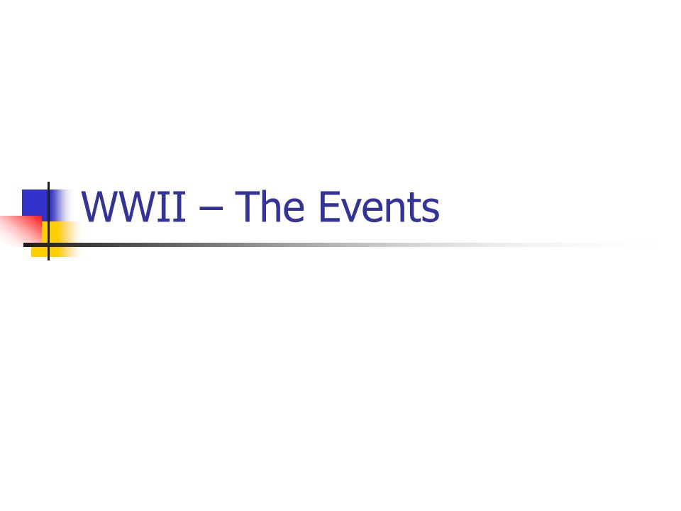 WWII – The Events