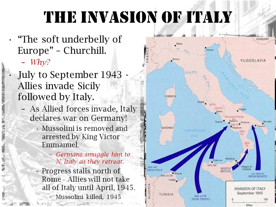 The Invasion of Italy The soft underbelly of Europe – Churchill.