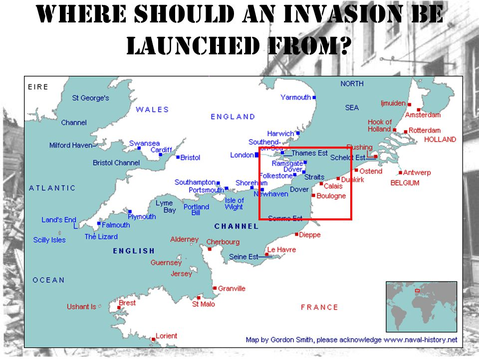 Where should an invasion be launched from