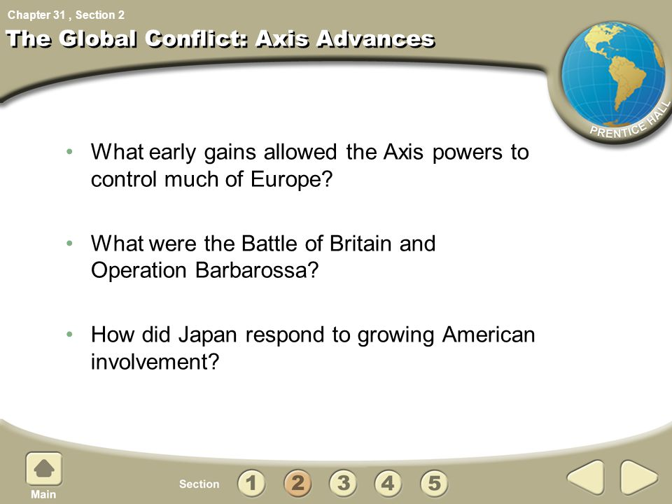 Chapter 31, Section The Global Conflict: Axis Advances What early gains allowed the Axis powers to control much of Europe? What were the Battle of Bri