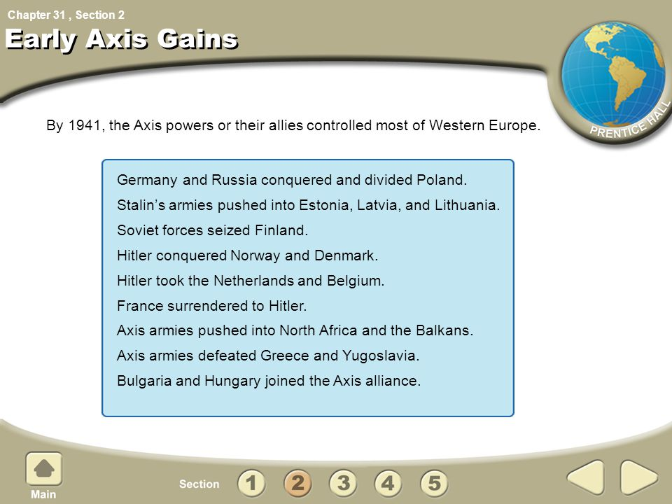 Chapter 31, Section Early Axis Gains By 1941, the Axis powers or their allies controlled most of Western Europe. 2 Germany and Russia conquered and di