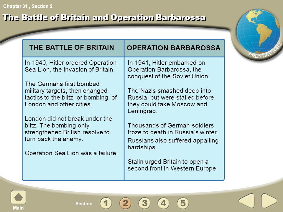 Chapter 31, Section The Battle of Britain and Operation Barbarossa In 1940, Hitler ordered Operation Sea Lion, the invasion of Britain. The Germans fi