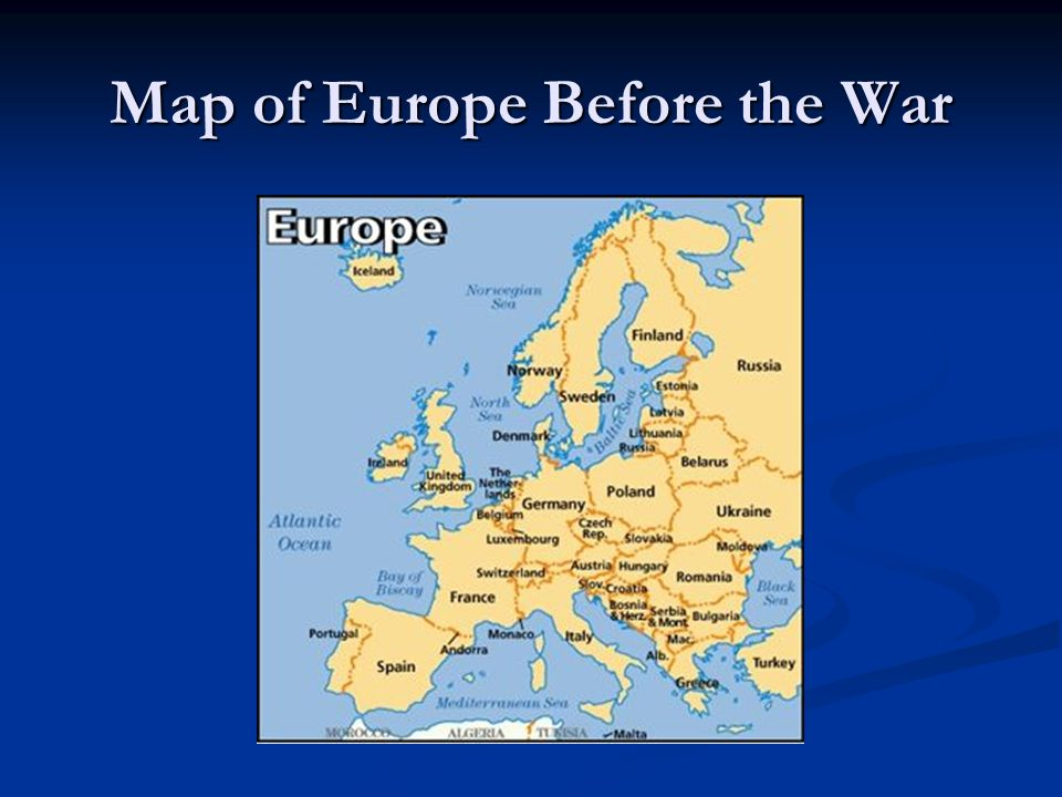 Map of Europe Before the War