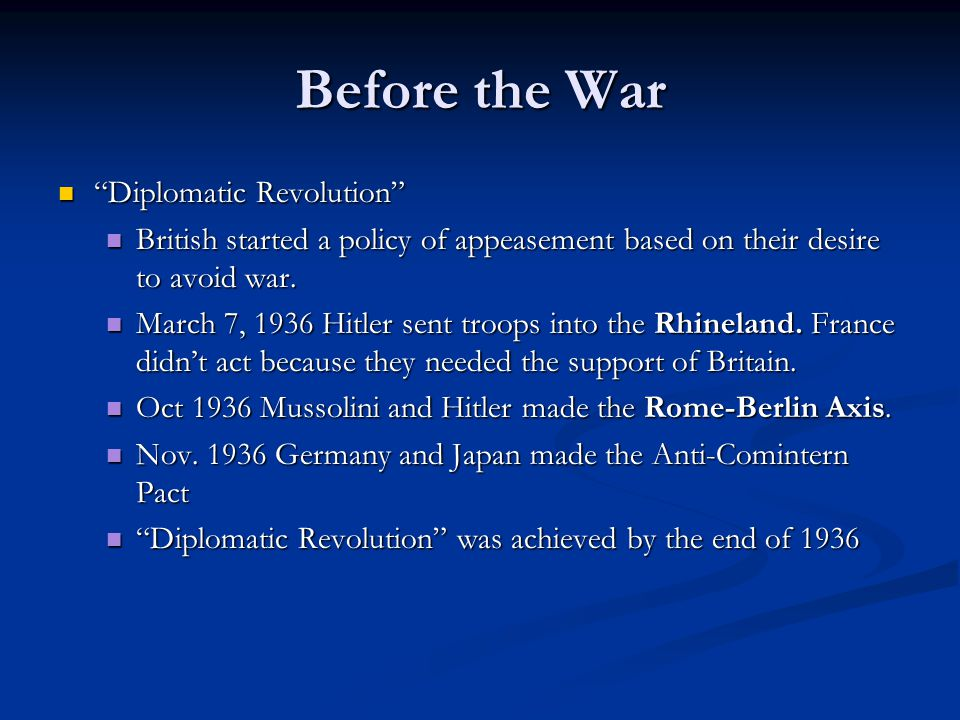 Before the War Path to War in Europe (1937-1939) Path to War in Europe (1937-1939) Nov.