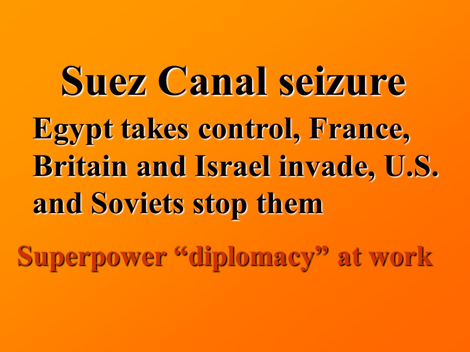 Suez Canal seizure Egypt takes control, France, Britain and Israel invade, U.S.