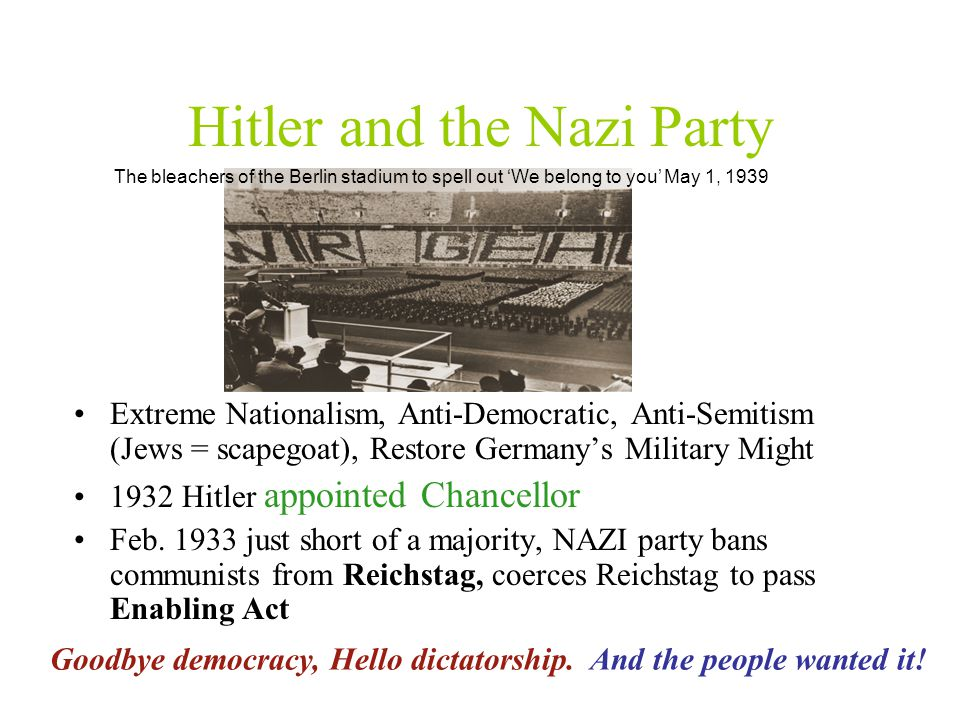 Hitler and the Nazi Party Extreme Nationalism, Anti-Democratic, Anti-Semitism (Jews = scapegoat), Restore Germany's Military Might 1932 Hitler appointed Chancellor Feb.