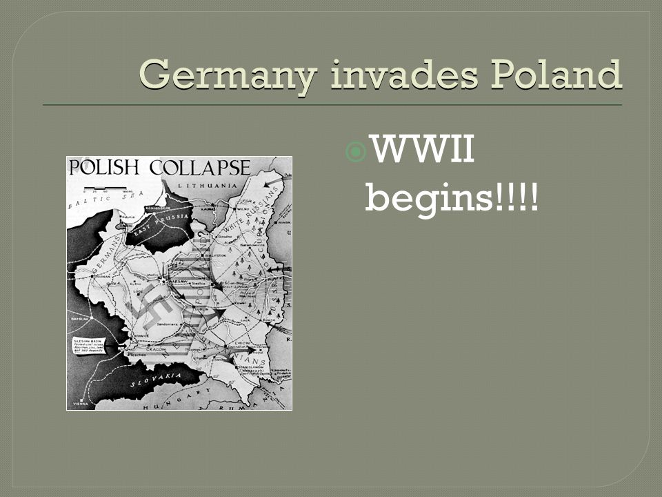 Germany invades Poland  WWII begins!!!!