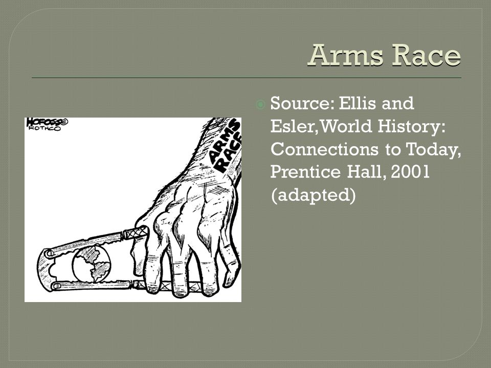 Arms Race  Source: Ellis and Esler,World History: Connections to Today, Prentice Hall, 2001 (adapted)