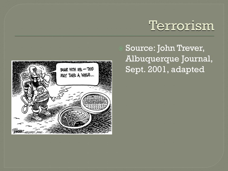 Terrorism  Source: John Trever, Albuquerque Journal, Sept. 2001, adapted