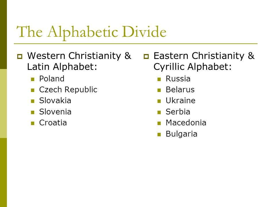 The Alphabetic Divide  Western Christianity & Latin Alphabet: Poland Czech Republic Slovakia Slovenia Croatia  Eastern Christianity & Cyrillic Alphabet: Russia Belarus Ukraine Serbia Macedonia Bulgaria