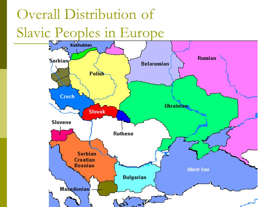 Overall Distribution of Slavic Peoples in Europe