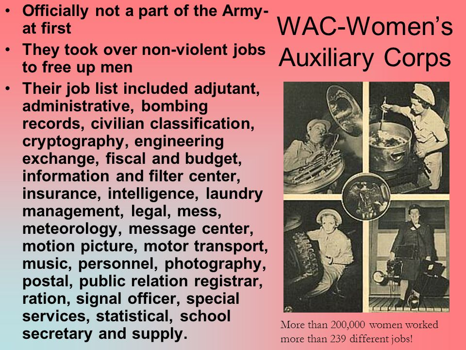 WAC-Women's Auxiliary Corps Officially not a part of the Army- at first They took over non-violent jobs to free up men Their job list included adjutant, administrative, bombing records, civilian classification, cryptography, engineering exchange, fiscal and budget, information and filter center, insurance, intelligence, laundry management, legal, mess, meteorology, message center, motion picture, motor transport, music, personnel, photography, postal, public relation registrar, ration, signal officer, special services, statistical, school secretary and supply.