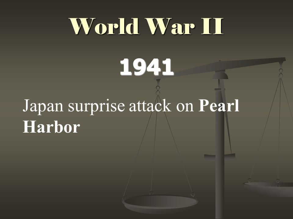 World War II 1941 Japan surprise attack on Pearl Harbor