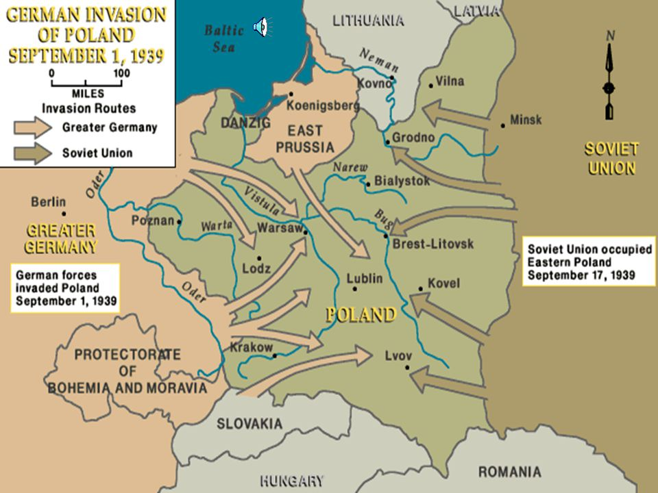 Hitler demanded the Baltic Sea port which was in Polish control Alleged allies such as Britain & France were going to back Poland's refusal for the sea port Danzig Germany turned to the USSR for support in invasion of Poland Germany attacked from the west and the USSR from the east as agreed in the Nazi-Soviet Pact The warfare became known as blitzkrieg – lightening war using tanks & aircraft(Luftwaffe) Poland Fell to German forces on October 5 th 1939