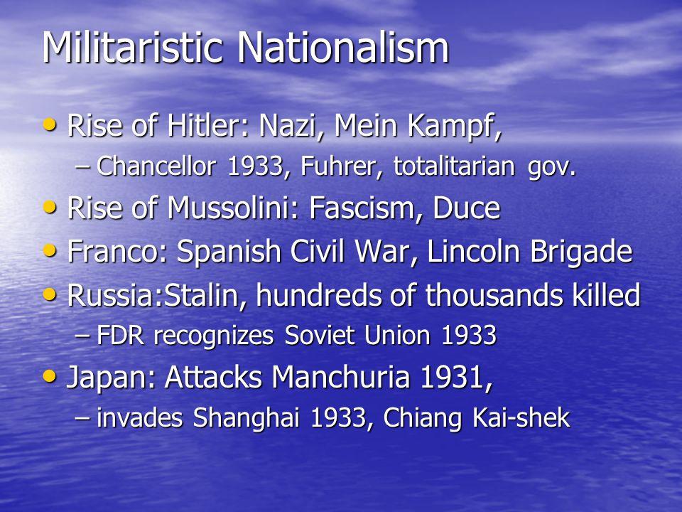 Militaristic Nationalism Rise of Hitler: Nazi, Mein Kampf, Rise of Hitler: Nazi, Mein Kampf, –Chancellor 1933, Fuhrer, totalitarian gov. Rise of Musso