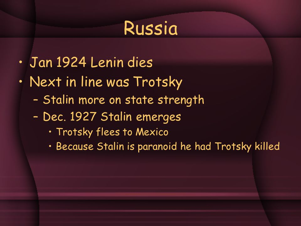 Russia Jan 1924 Lenin dies Next in line was Trotsky –Stalin more on state strength –Dec.