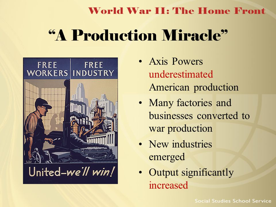 """A Production Miracle"" Axis Powers underestimated American production Many factories and businesses converted to war production New industries emerged"