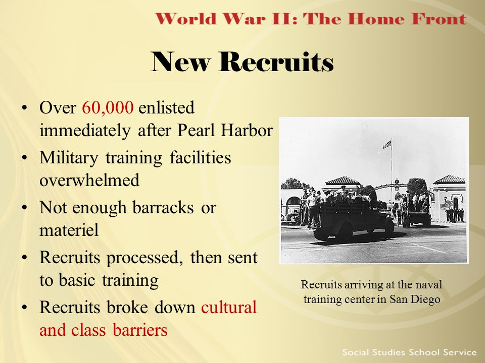 New Recruits Over 60,000 enlisted immediately after Pearl Harbor Military training facilities overwhelmed Not enough barracks or materiel Recruits pro