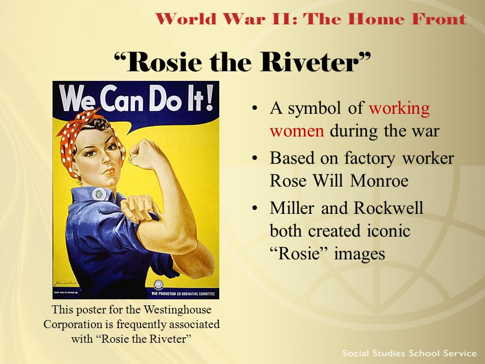 """Rosie the Riveter"" This poster for the Westinghouse Corporation is frequently associated with ""Rosie the Riveter"" A symbol of working women during th"