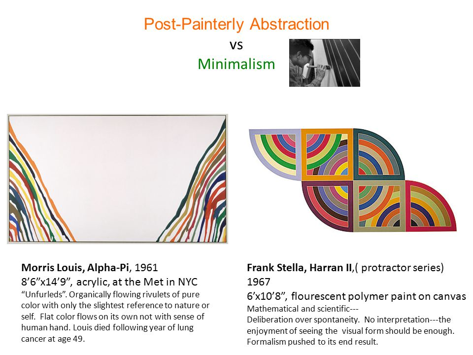 Post-Painterly Abstraction vs Minimalism Morris Louis, Alpha-Pi, 1961 8'6 x14'9 , acrylic, at the Met in NYC Unfurleds .