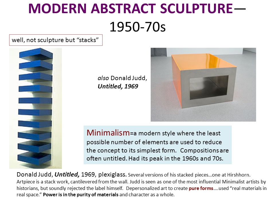 MODERN ABSTRACT SCULPTURE— 1950-70s Donald Judd, Untitled, 1969, plexiglass.