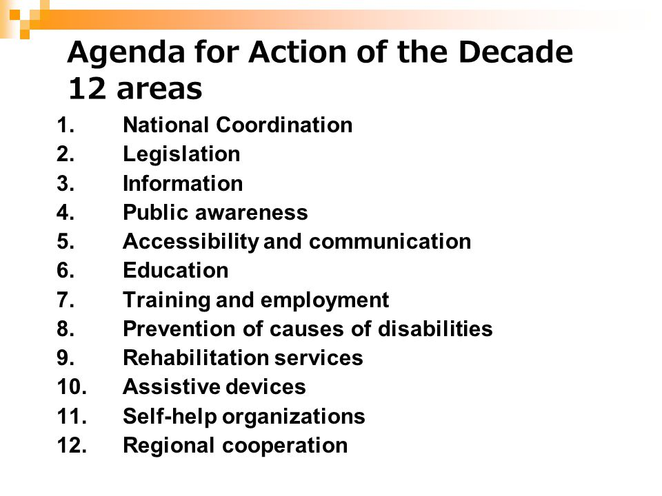 Agenda for Action of the Decade 12 areas 1.National Coordination 2.Legislation 3.Information 4.Public awareness 5.Accessibility and communication 6.Ed