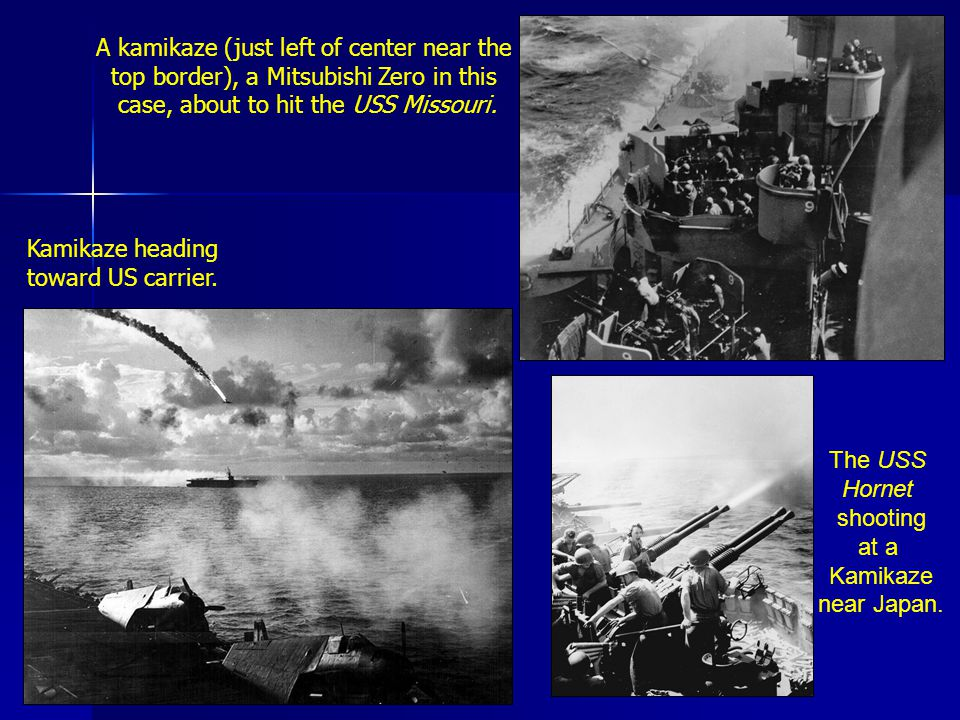The USS Hornet shooting at a Kamikaze near Japan. Kamikaze heading toward US carrier.