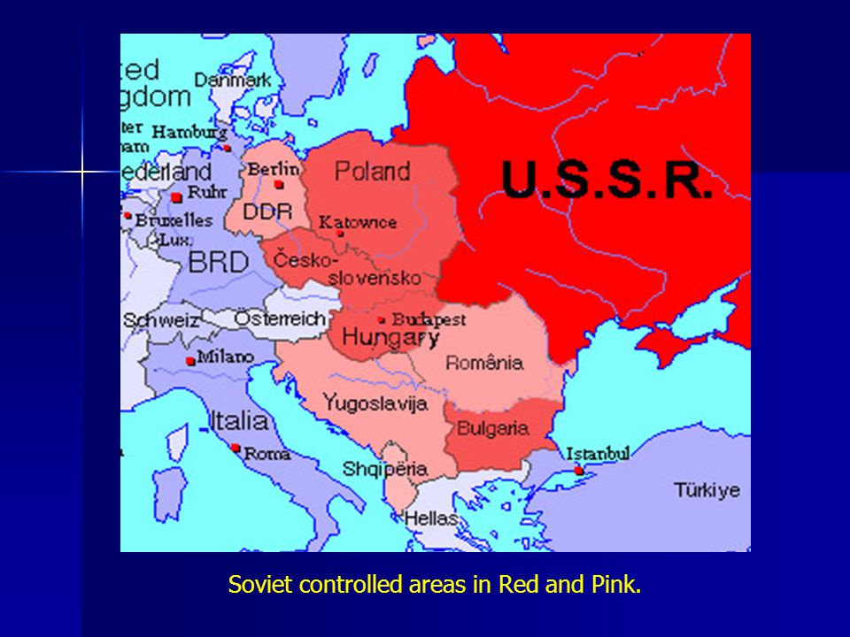 Soviet controlled areas in Red and Pink.