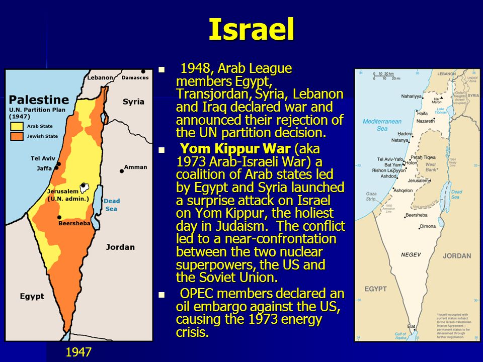 Israel 1948, Arab League members Egypt, Transjordan, Syria, Lebanon and Iraq declared war and announced their rejection of the UN partition decision.