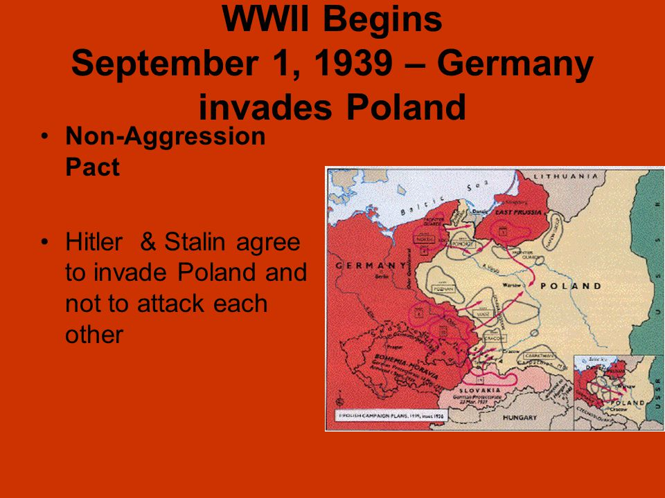 WWII Begins September 1, 1939 – Germany invades Poland Non-Aggression Pact Hitler & Stalin agree to invade Poland and not to attack each other