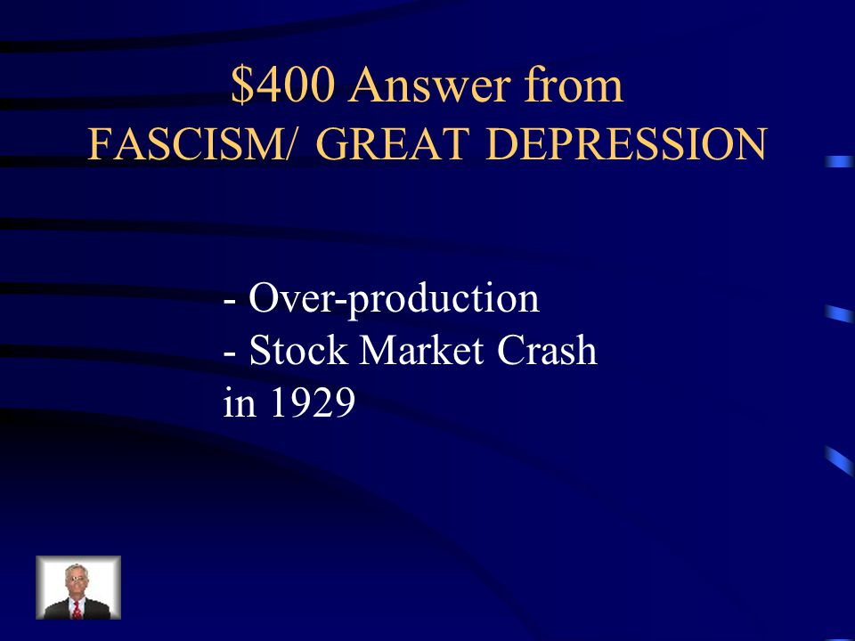 $400 Question from FASCISM/ GREAT DEPRESSION What caused the Great Depression in the US?