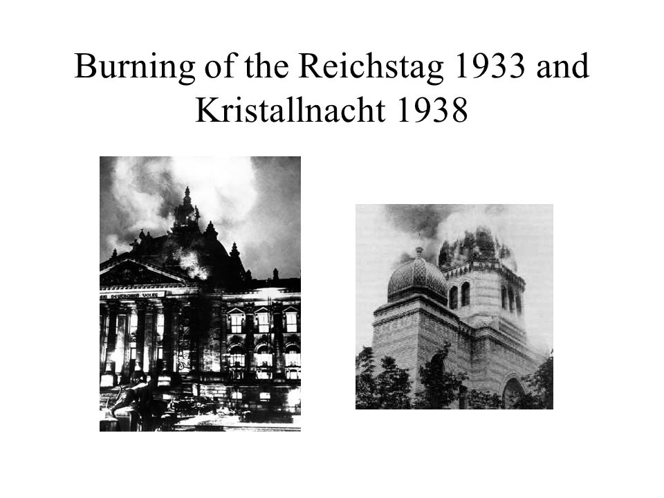 Burning of the Reichstag 1933 and Kristallnacht 1938