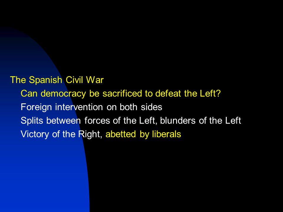 The Spanish Civil War Can democracy be sacrificed to defeat the Left.