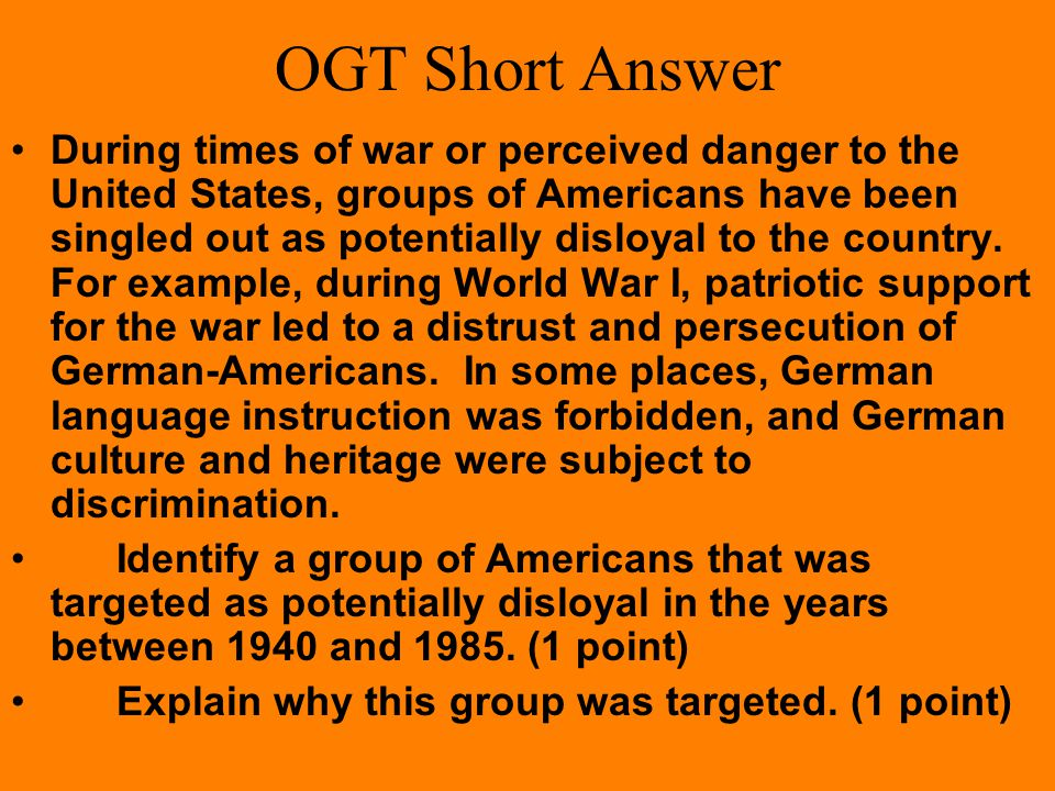 OGT Multiple Choice (Practice Test Booklet 2005) Which of the following statements best describes what happens to constitutional rights in the United States during times of war.