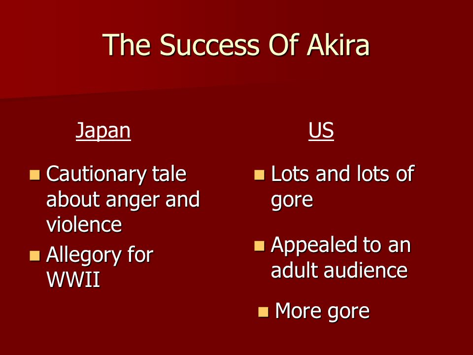 The Success Of Akira Cautionary tale about anger and violence Cautionary tale about anger and violence Allegory for WWII Allegory for WWII Lots and lots of gore Lots and lots of gore Appealed to an adult audience Appealed to an adult audience More gore More gore JapanUS