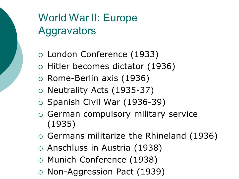 World War II: Europe Aggravators  London Conference (1933)  Hitler becomes dictator (1936)  Rome-Berlin axis (1936)  Neutrality Acts (1935-37)  Spanish Civil War (1936-39)  German compulsory military service (1935)  Germans militarize the Rhineland (1936)  Anschluss in Austria (1938)  Munich Conference (1938)  Non-Aggression Pact (1939)