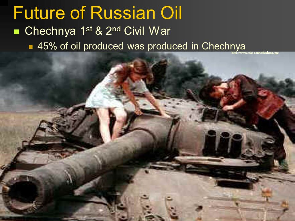 Future of Russian Oil Chechnya 1 st & 2 nd Civil War 45% of oil produced was produced in Chechnya http://www.ciai-s.net/chechnya.jpg