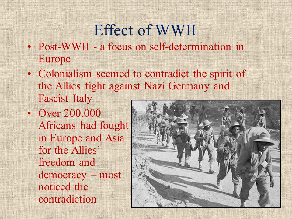Surge of anti-colonial nationalism after 1945.