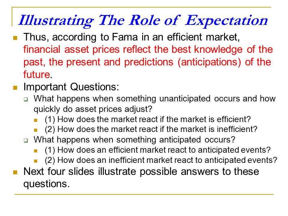 Eugene Fama and The Efficient Market Hypothesis According to Eugene Fama (see Appendix 1), who is regarded as the originator of the efficient market h