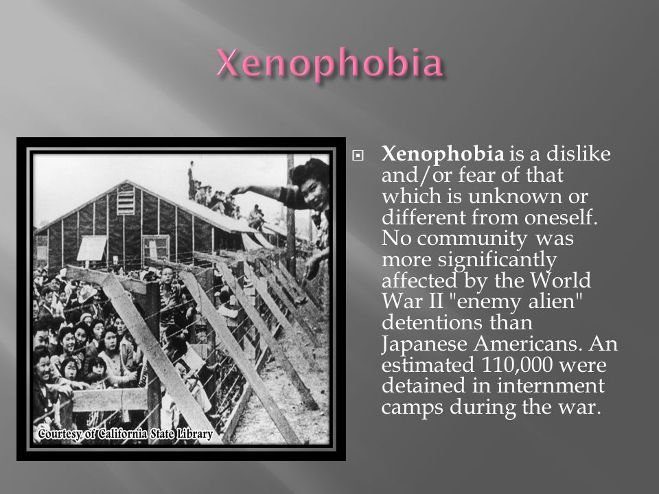  Xenophobia is a dislike and/or fear of that which is unknown or different from oneself.