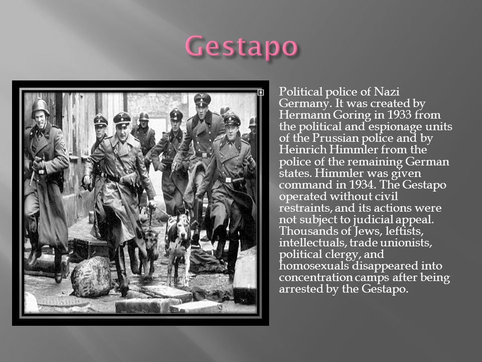  Political police of Nazi Germany.