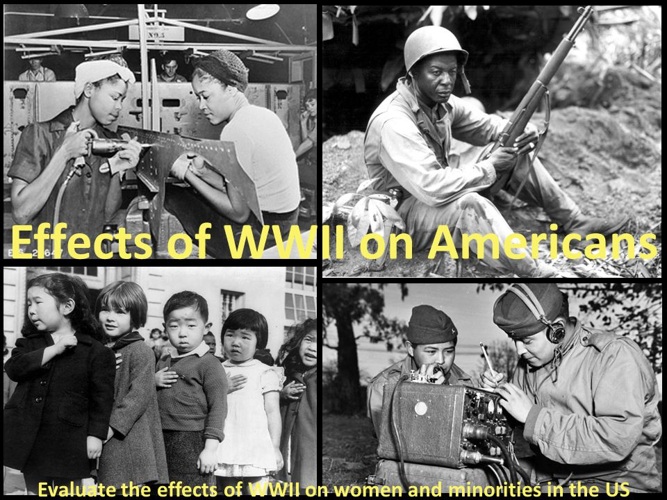 Evaluate the effects of WWII on women and minorities in the US Effects of WWII on Americans