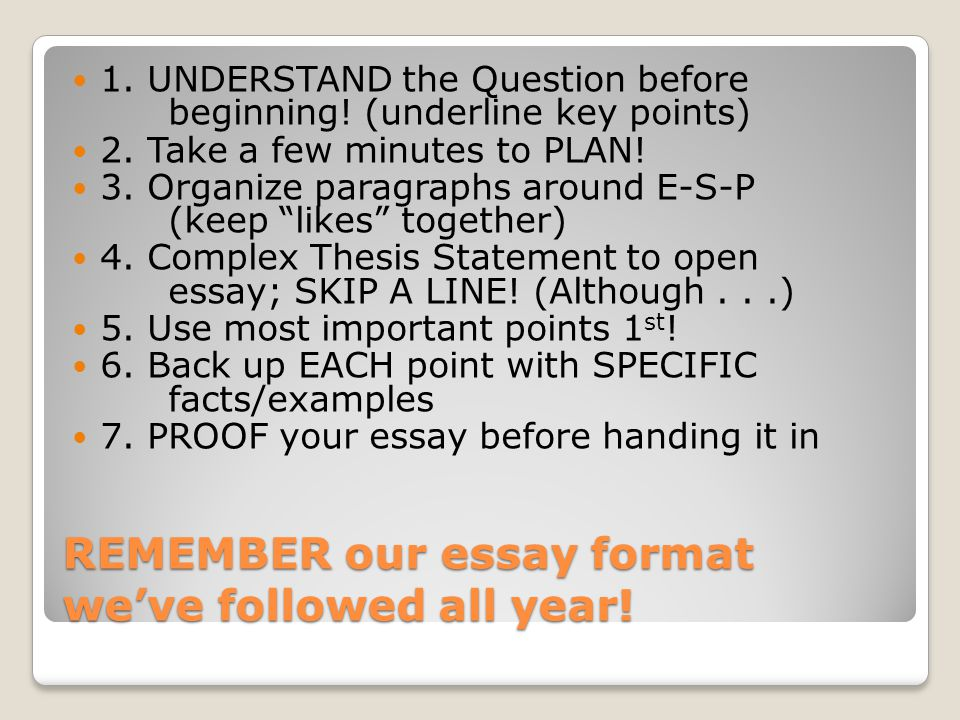 REMEMBER our essay format we've followed all year.